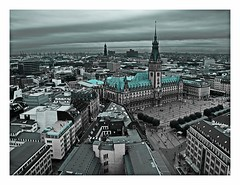 Hamburg from above (kurtwolf303) Tags: topf25 germany deutschland topf50 topf75 europe cityscape 500v20f hamburg townhall hh rathaus omd 1000views