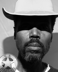 365x4.049: R is for Ranger (malik ml williams) Tags: bw selfportrait black hat nikon africanamerican blackmen strobe blackhistory loneranger sb800 365days strobist bassreeves 365x4