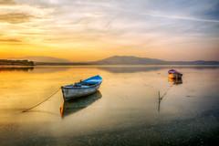 Hot sunset (Nejdet Duzen) Tags: trip travel sunset lake reflection nature turkey boat türkiye sandal günbatımı göl yansıma turkei seyahat manisa doğa kayık gölmarmara