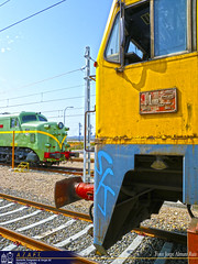 Frente a frente. (Tomeso) Tags: plaza english electric azul tren spain gm industrial diesel zaragoza aragon 319 patrimonio inglesa emd retales 7702 azaft