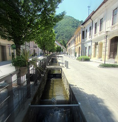 The sunny side of the street (Nada BN) Tags: architecture river slovenia oldtown slovenskekonjice