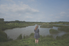A modern day fairytale (Sarah-Louise Burns) Tags: portrait lake green water girl grass fashion self vintage river stream style retro greenland