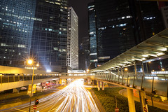 Central, Hong Kong (Sunny Herzinger) Tags: city travel light urban hk night skyscraper canon hongkong asia central trails walkway hongkongisland 6d longtimeexposure