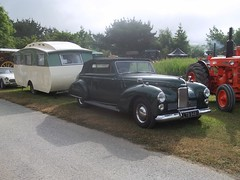 Camping in Style; 1950's (occama) Tags: old uk car big cornwall convertible super british caravan luxury rare coupe 1950 humber 1953 rootes snipe carlight drophead ltb948