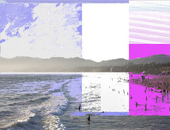 Too young to be important (Visual Art Exchange) Tags: california usa beach colors cali photoshop photography surf artist purple image santamonica memories magenta violet northcarolina kristen westcoast glitch crouch edit distort wilmingtonnc nostaligia colorblocking