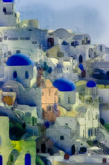 Oia, Watercolor and pencil (AjayGoel2011) Tags: world blue color photoshop watercolor nikon explore santorini greece dome creativecommons nikkor yello decisivemoment ajaygoel picturemanipulation flickriver