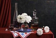 Memorial Day (Esther Spektor - Thanks for 11+ millions views..) Tags: flowers blue red stilllife white reflection glass rose composition canon paper table star bottle ceramics pattern wine availablelight napkin curtain plate stilleben memory vase drape tribute bouquet bud arrangement memorialday liqueur bodegon naturemorte naturamorta naturezamorta creativephotography artisticphoto estherspektor patrioutic