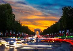 Sunset @ Champs Elyses (vy.photographe) Tags: street longexposure paris rue arcdetriomphe champselyses hdr coucherdesoleil blending fil poselongue