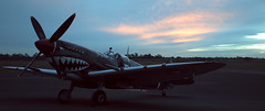 Blue sunset (lindsayholley) Tags: blue sunset wheel four sundown aeroplane guns spitfire pilot blades tyres