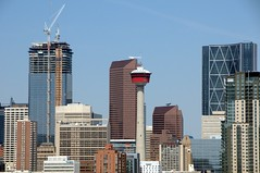 Calgary's 5 tallest building champions through the years (LUMIN8) Tags: calgary marriott downtown hyatt calgarytower yyc palliserhotel mustardseed thebow hotellegermain brookfieldplace suncorenergycentre
