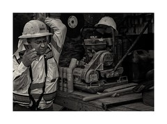 Construction Worker - Quitting Time (sorrellbruce) Tags: portrait blackandwhite bw man work nikon labor dirty tired d750 worker streetphoto weary decisivemoment consturction environmentalportrait quittingtime nikkor50mm lr6 framefun silverefexpro petebridgwoodsharpeningpresets
