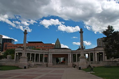 Greek Amphitheater (quiggyt4) Tags: bear street sculpture horse mountains west art architecture rockies greek cow opera colorado theater streetlamp cityhall library capital arts lion cell rocky denver moo historic clocktower greece capitol conventioncenter publicart 16thstreet amphitheater donaldtrump lightrail libeskind trump broncos bovine streetscape civiccenter denverco coorsfield denvernuggets avalanche denverpubliclibrary coloradorockies denverbroncos citybeautiful counterterrorism coloradoavalanche ows larimersquare occupy occupywallstreet