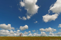 The cloud racer (Johan Konz) Tags: cyclist blue sky white clouds outdoor zeedijk waterland netherlands cloud landscape dike