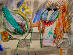 Sage Mandrill (giveawayboy) Tags: art pen painting tampa sketch paint artist acrylic drawing 5 shell sage bust expressionism crayon abalone mandrill fch giveawayboy billrogers