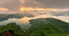 Panorama, Sun Moon Lake  (Vincent_Ting) Tags: morning sunset sky lake water clouds sunrise dawn pier taiwan galaxy   crepuscularrays  sunmoonlake milkyway                  vincentting