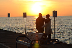 *My Love* (Poocher7) Tags: sunset portrait people orange sun lake ontario canada love beautiful sunglasses wonderful bench walking togetherness pier couple pretty quiet affection outdoor dusk candid gorgeous peaceful romance together lensflare romantic ripples lovely lakehuron warningsigns contentment grandbend tendermoment middleaged armandarm