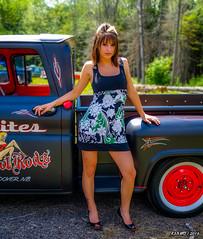 Hot Rod Lady & 1961 Chevy pickup (kenmojr) Tags: auto summer canada classic chevrolet car truck vintage fun antique pickup babe newbrunswick chevy transportation moncton hotrod vehicle pinup carshow 1961 centennialpark maritimes atlanticprovinces atlanticnationals kenmorris kenmo