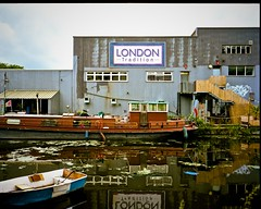 London Tradition, Lea Navigation (I M Roberts) Tags: film canal urbansetting narrowboats mamiya7 kodakportra leanavigation
