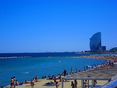 Barceloneta Beach (gaypunk) Tags: ocean barcelona sea summer sun beach swim spain mediterranean barceloneta