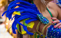 Costume Pride (DobingDesign) Tags: blue color detail costume colours bokeh feathers streetphotography depthoffield jewellery lgbt colourful sequins pridelondon gaypride2016