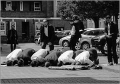 Outdoor Prayers (Mabacam) Tags: street blackandwhite bw london monochrome community streetscene shoreditch devotion society prayers eastend 2016