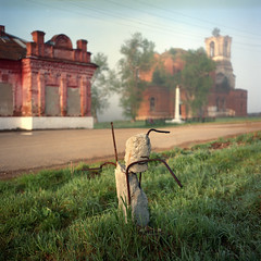 (Anton Novoselov) Tags: russia village rolleiflex e2 tlr 35 xenotar 6x6 120 film medium format square   morning outdoor street church nikon super coolscan 8000 ls8000ed