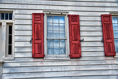Dream Window (SunnyDazzled) Tags: wood old sky cloud house reflection home window glass reflections newjersey village historic shutters siding millbrook hooks hinges