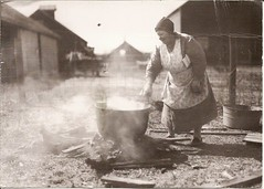 B&W RR 800 from jschwab - Making Soap, Iowa, 1937 (poppy cocteau) Tags: blackandwhite postcard oldwoman 1937