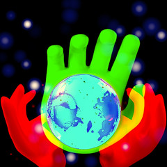 Cosmic Hands (fillzees) Tags: world blue red green yellow composite circle globe hand space mashup round fx visualart spherical vividimagination awardtree visualmashups altrafotografia