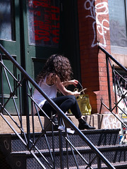 Summer Stoop (Professor Bop) Tags: street nyc newyorkcity summer woman building female manhattan steps structure porch stoop nolita drjazz olympuse510 professorbop