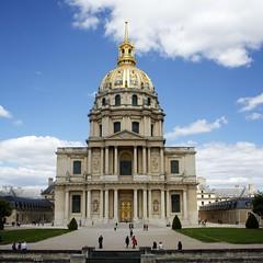 Les Invalides Paris France (Cameron (and Liz)) Tags: blue sky paris france building architecture clouds gold dome pillars lesinvalides
