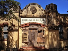 School's Out (misterbigidea) Tags: flickriosapp:filter=nofilter uploaded:by=flickrmobile greenwood school schoolhouse old building shambles decay education learning hall closed boardedup forgotten diploma stucco mission architecture lonely student shadows recess summertime urban rural city landscape stockton explore