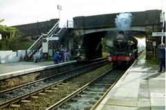 Stanier LMS Jubilee 45596 Bahamas speeds through Burscough Bridge Station with 'The Southport Visitor' c 1989 © (steamdriver12) Tags: heritage jubilee smoke steam lancashire 1989 bahamas visitor southport stanier 6p burscoughbridge 45596