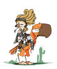 Parrot knight (ElranEttinger) Tags: bird art illustration digital ink photoshop design sketch desert drawing character cartoon beak parrot redhead animation knight rider racer riders characterdesign