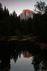 The Last of the Alpenglow (kelstar*) Tags: california usa reflection canon river eos merced reflect valley yosemite 7d halfdome yosemitenationalpark sierranevada alpenglow