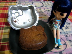 Hello Kitty brownie? kind of? (Suedehead) Tags: hello home azul baking doll kitty brownie blythe pan abe 2014