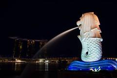 Singapore (Sandra B. & Dean K.) Tags: city pool night marina canon eos bay singapore asia asien infinity 7d sands singapur merlion grosstadt