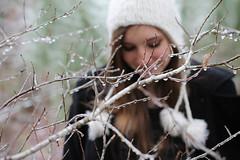 {untitled} (Madison Caroline) Tags: winter portrait macro forest dark soft branches naturallight 50mm14 freeze freckles brunette awe forestgreen darkmood natureinwinter forestportrait