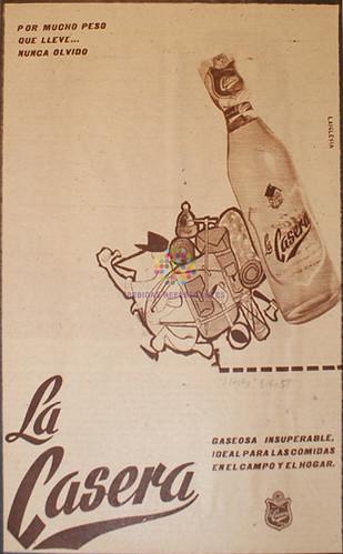 """La Casera. """"Gaseosa insuperable"""". 1958"""
