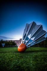 Huge Birdie HDR (tkduong2007) Tags: sculpture art museum birdie kansascity missouri 20mm kc hdr nelsonatkins shuttlecock gf1 pancakelens micro43 lumixgf1