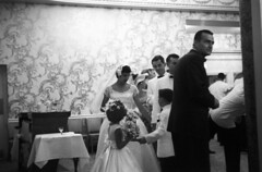 083659 05 (ndpa / s. lundeen, archivist) Tags: flowers boy wallpaper people blackandwhite bw woman man film girl monochrome 35mm children groom bride blackwhite veil dress nick bowtie august ringbearer tuxedo 1950s bouquet weddingparty flowergirl gown weddingdress groomsmen tux blacktie weddingreception 1959 unidentified formalattire dewolf bowties bridalgown whitetuxedo nickdewolf whitetuxedos photographbynickdewolf blacktuxedo locationunidentified