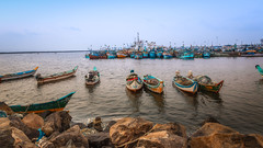 Fishing Harbor (rameshsar) Tags: india water landscape harbor chennai 24105 canon6d boatssea vision:beach=0593 vision:outdoor=099 vision:ocean=0636 vision:sky=0694