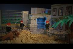 Drop Zone - Death Zone: Mission Laboratory #2 (Sir Brick) Tags: usa broken cool sand war lego military super scene andreas saudi arabia forced diorama weapons apocalyptic the apoc warfare purge percpective
