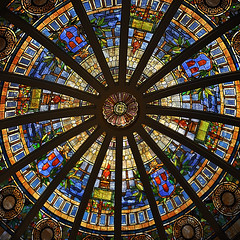 Dome (Seeing Visions) Tags: california ca texture museum architecture circle square la us losangeles unitedstates stainedglass symmetry dome rotunda naturalhistorymuseum nhm radiating 2010 raymondfujioka