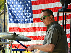 Drumming with the red, white and blue
