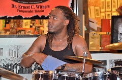 """Playing a Hot Set of the Blues with Sean """"Bad"""" Apple on Beale Street (forestforthetress) Tags: musician music man festival concert song memphis gig band streetphotography blues drummer bealestreet"""