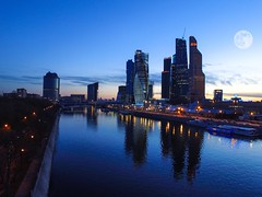 Evening in Moscow city (aleksandranb) Tags: city urban moon moscow unreal