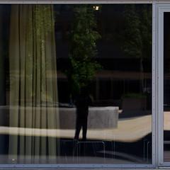 the open curtain (zeh.hah.es.) Tags: shadow reflection window silhouette schweiz switzerland fenster curtain zurich zrich schatten spiegelung vorhang selfie kreis5