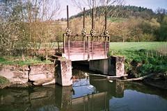Wood barrier in creek Steinach (Vortilogue) Tags: mill film analog creek 35mm lomo cosina barrier brook analogue rivulet c200 fujicolor steinach cosinacx1 cx1 schneckenlohe