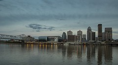 Dinner Cruise along the Ohio River (Kevin Povenz) Tags: 2016 may kevinpovenz kentucky indiana louisville city ohioriver water reflection river cruise dinnercruise buildings cityscape canon7dmarkii sky dusk eveing sunset glue lights